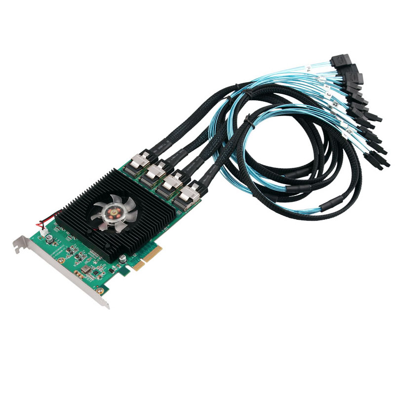 16 Ports SATA Card 6Gbps PCI Express Controller Card Marvell 88SE9215 Chipset PCIe to SATA III 3.0 with Mini SAS to 4 SATA Cable16 Ports SATA Card 6Gbps PCI Express Controller Card Marvell 88SE9215 Chipset PCIe to SATA III 3.0 with Mini SAS to 4 SATA Cable