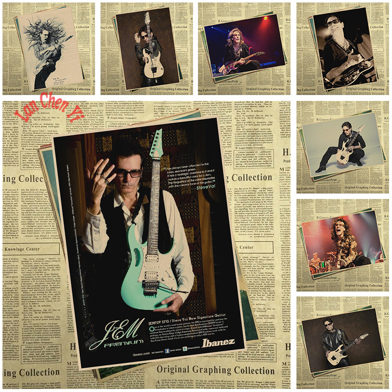 Steve Vai Band Classic Nostalgic Matte Kraft Paper Poster Office Gift Room Dining Home Decor wall sticker Design