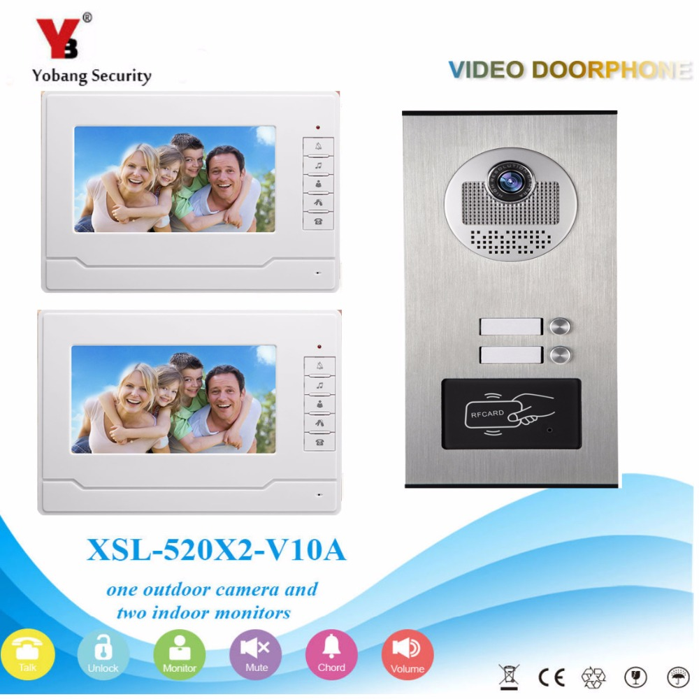 YobangSecurity 2 Unit Apartment RFID Access Control Video Intercom 7Inch Wired Video Door Phone Doorbell Intercom Camera System 7 inch password id card video door phone home access control system wired video intercome door bell