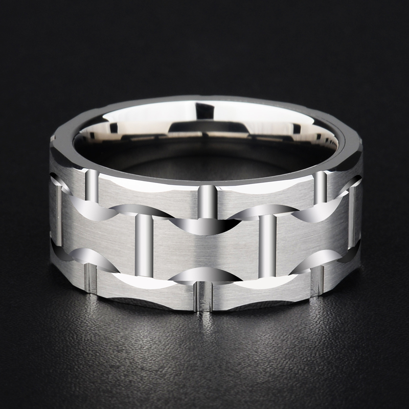 2018 New Design Saya Brand Men's 10mm Brick Pattern Silver Tungsten Carbide Statement Ring Wedding Ring For Anniversary Party-in Rings from Jewelry & Accessories    2