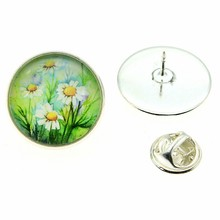 2019 New Fashion 2 Colors 20mm Daisy Flower Glass Cabochon Brooches Pins Collar Suit Scarf Decoration