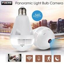 FUERS IP kamera Gözetim 960P kablosuz Panoramik kamera Ev güvenlik ışığı ampul Balıkgözü kamera WiFi 360 Derece CCTV