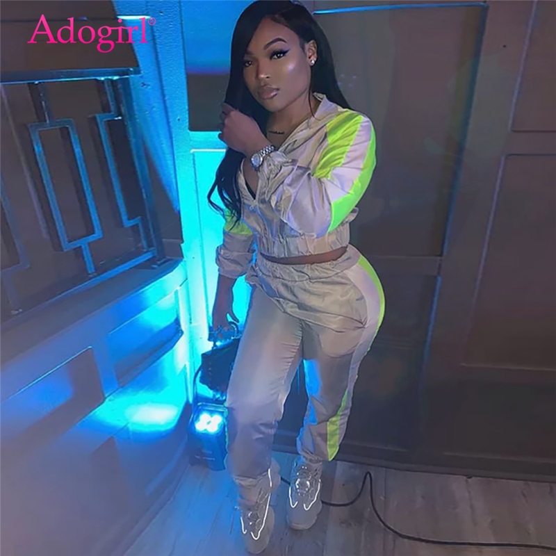 Adogirl Color Patchwork Reflective Casual Two Piece Set Women Tracksuit Zipper Long Sleeve Crop Top Sweatshirt + Fitness Pants