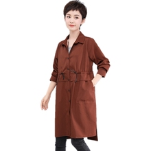 2019 Spring new long trench coat for women elegant Drawstring waist Single Breasted solid outerwear plus size ladies long shirt