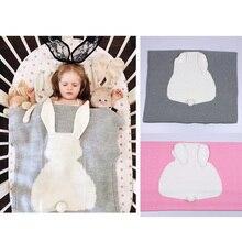 Детское трикотажное спальное одеяло с кроликом из мультфильма, удобное одеяло для сна большого размера, подарок для малышей