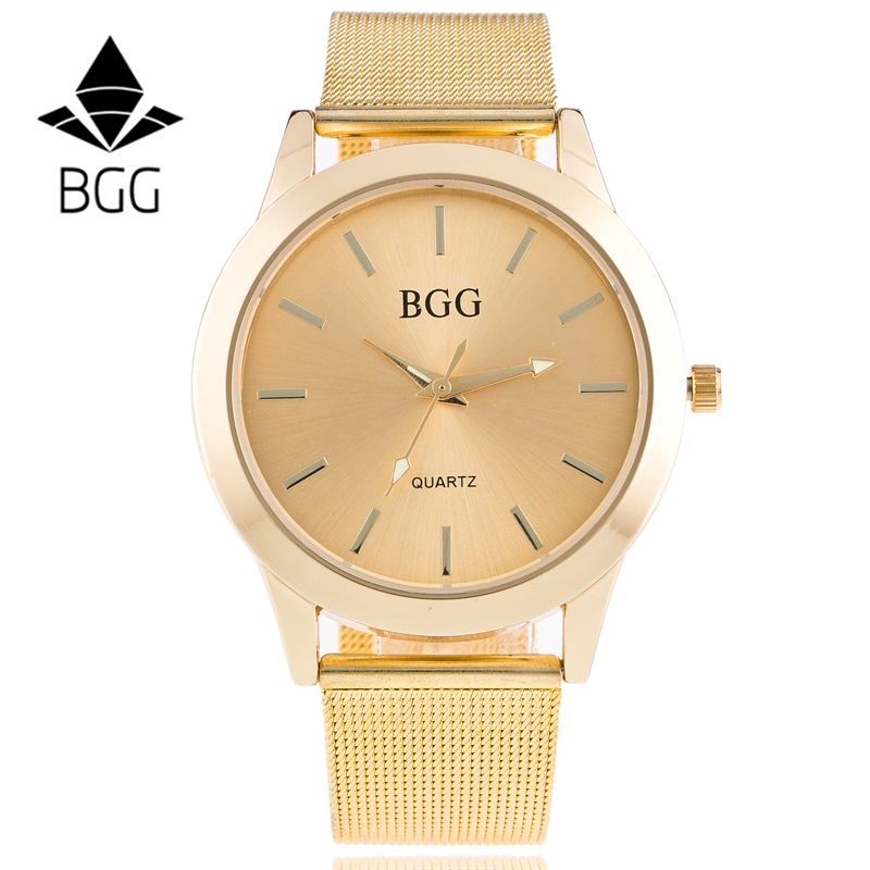 Luxury Golden Mesh Wristwatch New Fashion BGG Brand Analog Quartz Watch Women Steel gold Casual Watch lasie Dress clock hours luxury golden mesh wristwatch new fashion analog quartz watch women steel gold casual watch ladies simple dress clock hours