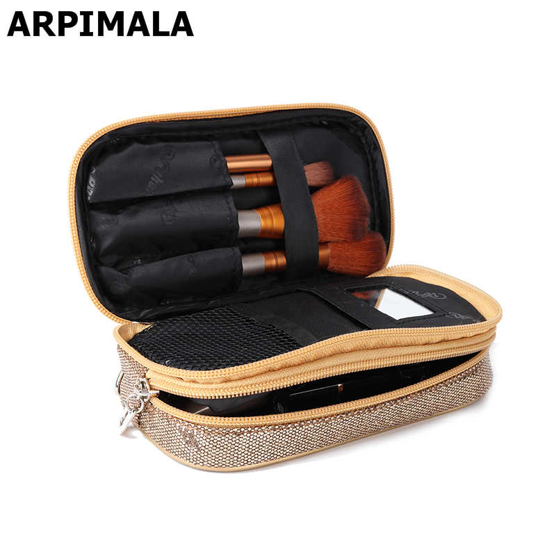 ARPIMALA Pailletten Make-Up Tas Vrouwen Luxe Cosmetische Zakken Benodigdheden Reizen Make-Up Case Brush Pouch Beauty Kit Toilettas Organisator