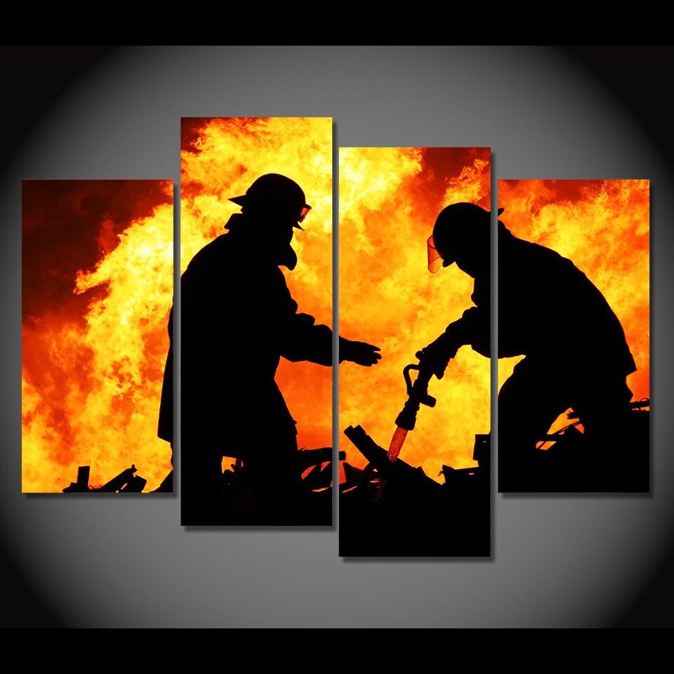 4 piece canvas art HD print raging flame firemen silhouette painting ...