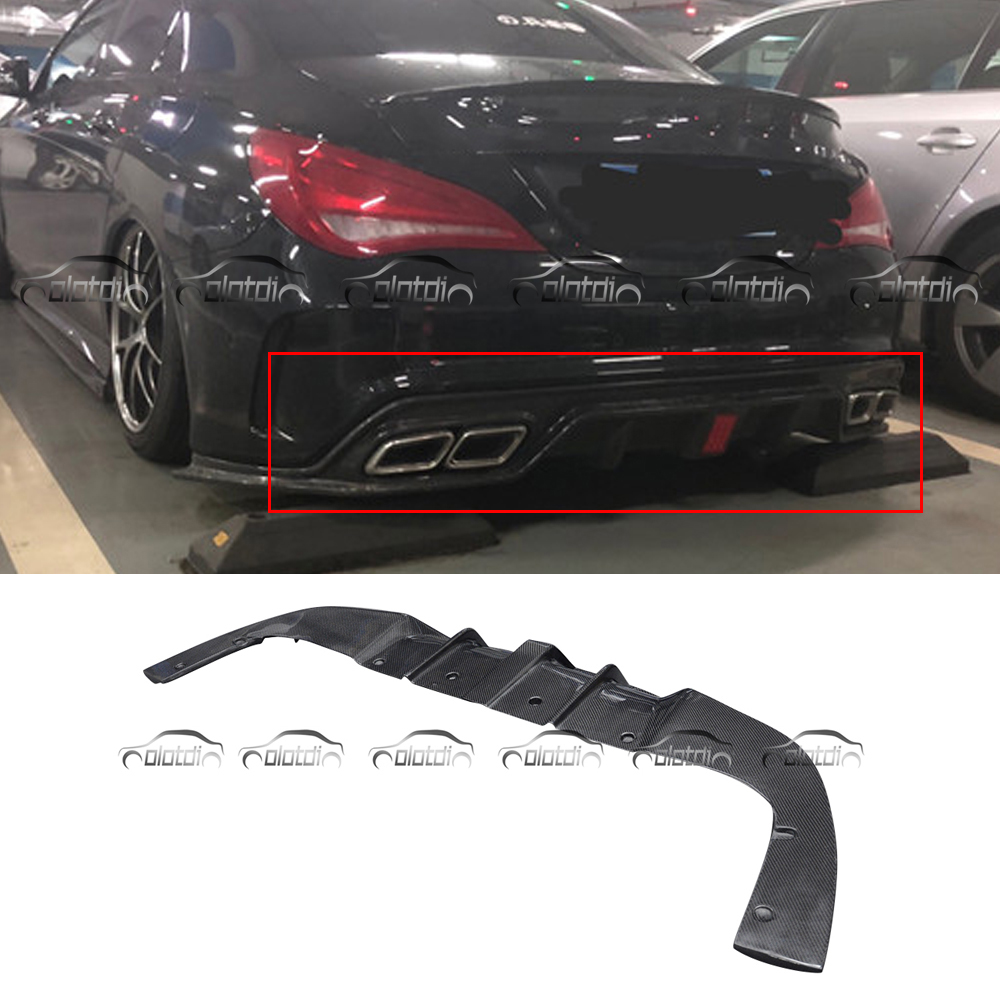 for Mercedes Benz W117 C117 CLA Sport Rear Lip Bumper Spoiler Broad Diffuser With LED Lights