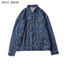 Men's Solid Denim Jackets Drop-shoulder Sleeve Japan Style Casual Coat Man leisure Fashion Autumn Winter Jacket Chaqueta Hombre недорого