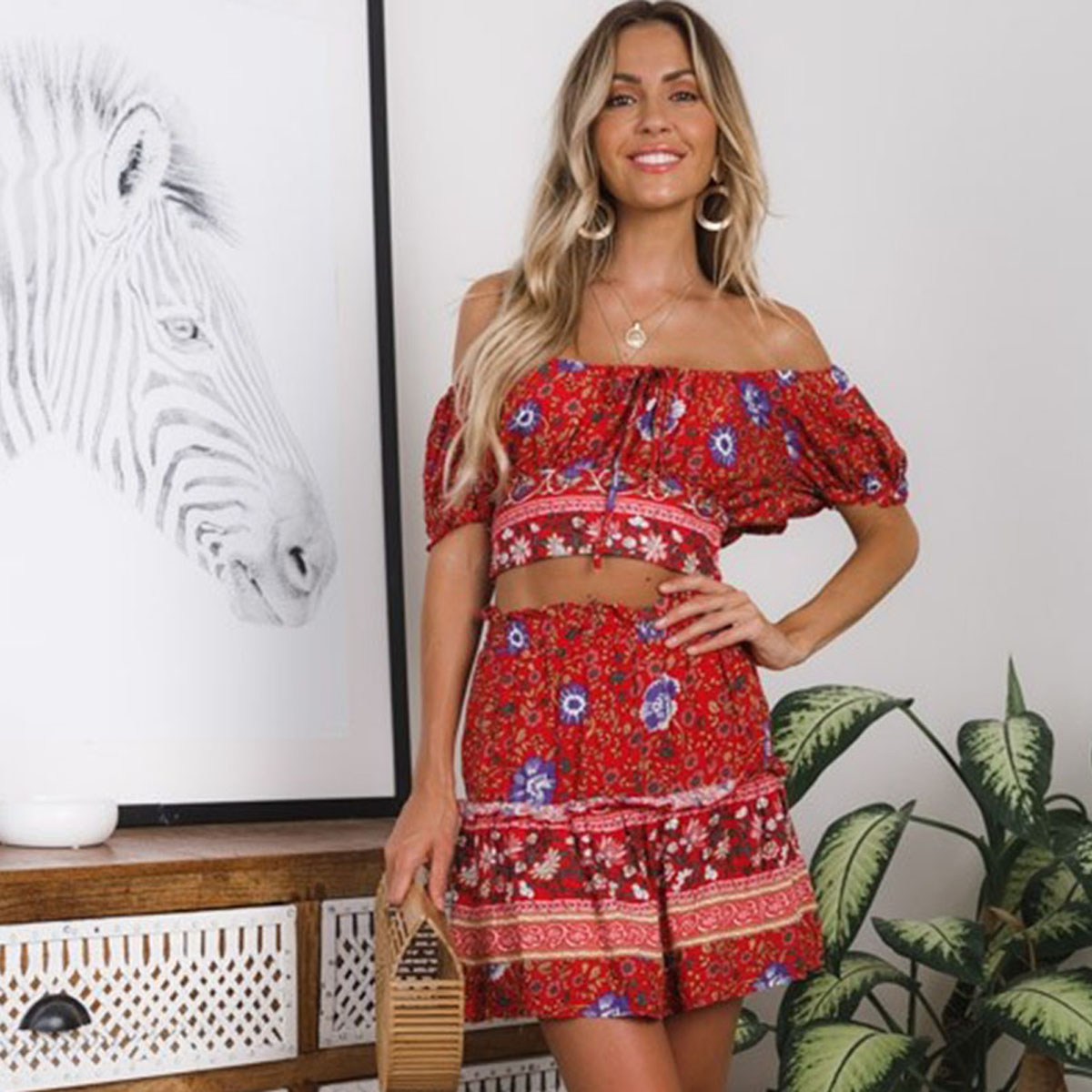 c9fa0962e1 Jastie Floral Print 2 Piece Set Women Dress Summer Short Sleeve Crop Top + Mini  Skirt Boho Dresses Set Casual Beach Dress Suit-in Women's Sets from Women's  ...
