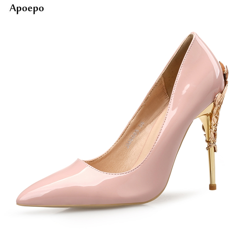 Apoepo Nude Patent Leather High Heel Shoes Pointed Toe Thin Heels Pumps for Woman Gold Strange Heels Wedding Shoes Party Shoes avvvxbw 2017 pumps high heels shoes woman pointed toe patent leather wedding shoes sexy thin heels shoes sapatos feminino c512