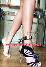 Nouvelle Arrivée Femmes Fringe Tassel Stiletto Sandales En Métal Cheville Wrap perles Talons Pompes Chaussures Pom Pom Lace Up Cut-out Sandale bottes