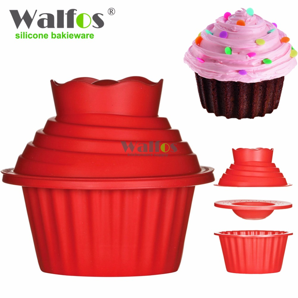 Walfos High Quality Silicone Giant Cupcake Mold 3 Pcs Big