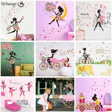 New listing wall stickers butterfly girl stylish modern decor for home decoration decals removable wallpaper