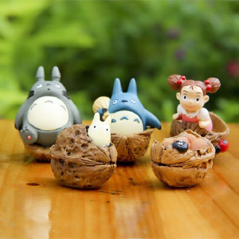 8 unids / lote Studio Ghibli Miyazaki Hayao Edición Clásica Nogal Mei Azul Totoro PVC Figure Collection Modelo de Juguete Kid Navidad Regalos