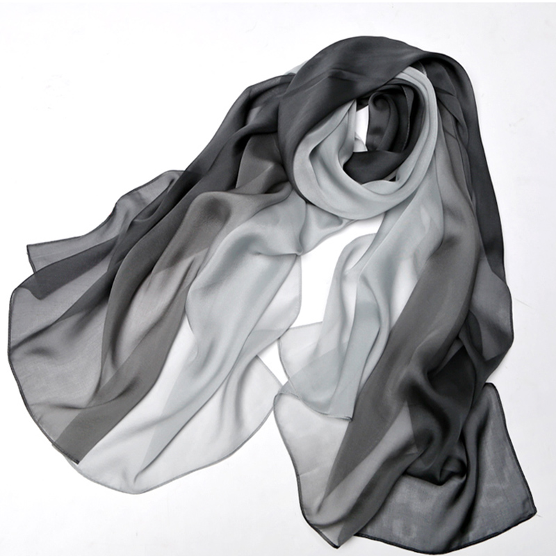 b5d880a7d1954 Women Silk Scarf Fashion Ombre Echarpe Soft Summer Wrap Female Luxury  Scarves Foulard Beach cover up Beach scarf S9A189038-in Women's Scarves  from Apparel ...