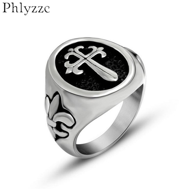 Cool Oval Cross Ring Mens Lily Fleur De Lis Ring Gothic Biker