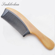 Handmade Natural Ox Horn+ Green Sandalwood Hair Brush Wooden Comb for hair massage peine anti-static hairbrush combs massager