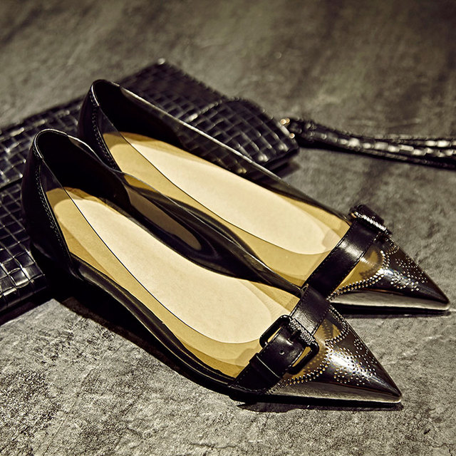e89462613d29 Ladies Shoes brand Buckles Women Famous Leather And PVC Designer Flat Shoes  2016 Pointed Toe Fashion