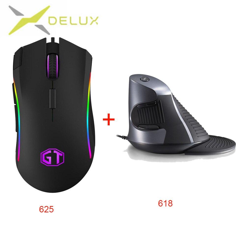 Souris RGB de jeu Delux DPI 1000/2000/4000/8000/12000 souris monobloc brillante lumineuse filaire USB souris d'apparence mate ABS