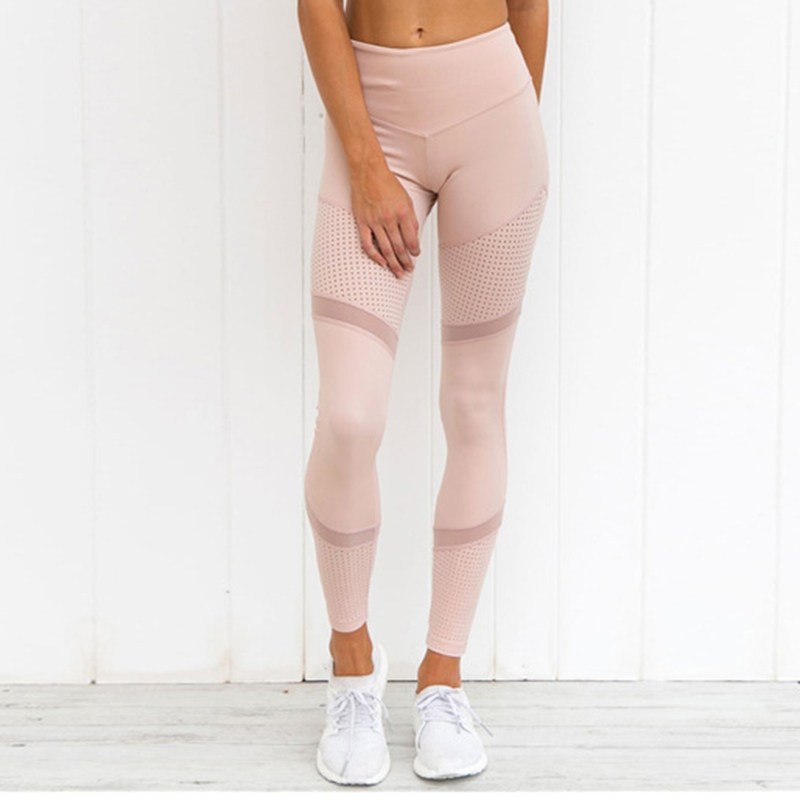 New Work Out Pink Leggings Women Spring Ankle-Length Soft Mesh Legging Stitching Hollow Slim Push Up Lady's Leggings
