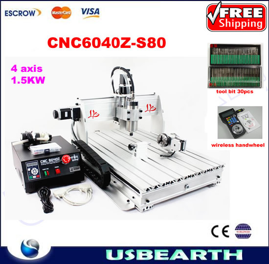 Mini cnc router 6040Z-S80 4 axis engraving machine1.5KW spindle cnc cutting machine for metal,wood with tool bits and handwheel цепочка