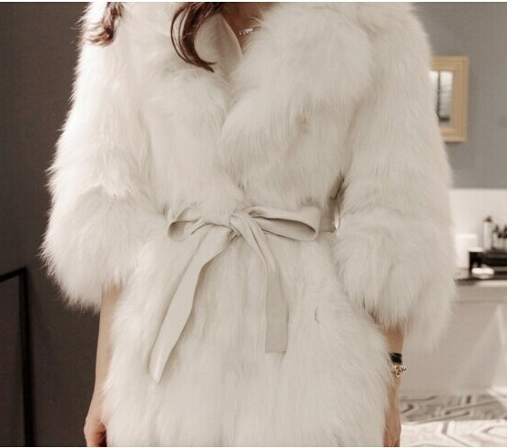 Free Shipping Khaki Grey White Faux Fur Coat Tie Belt  Elegant Women's Fake Fur Jacket Overcoat Outerwear Clothing WC298