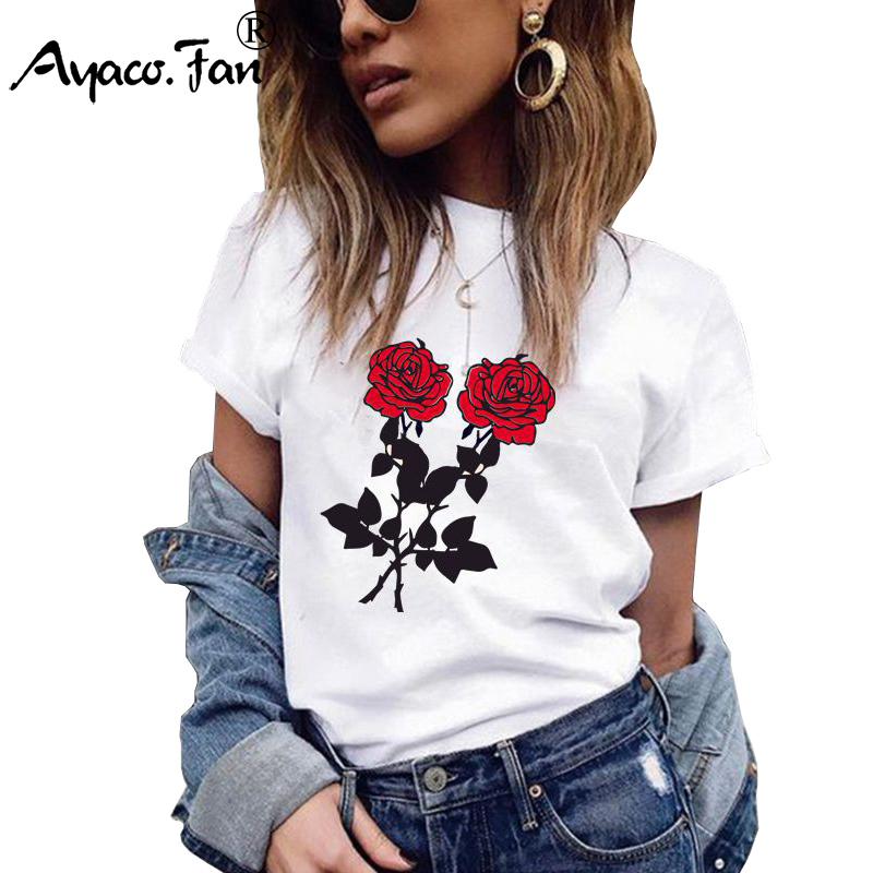 Plus Size Girls T-Shirts 2019 Summer New O-Neck Floral Print Women T-Shirt For Female Lady Casual Slim White Tops Tees Camisas