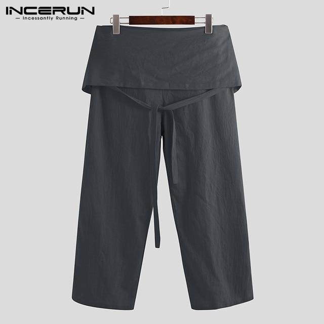 Plus Size Men Thai Fisherman Pants Wide Leg Lace Up Solid Cotton Men Casual Pants 2019 Joggers Loose Retro Trousers Men INCERUN