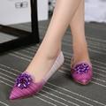 2017 Nuevas Mujeres Del Resorte Zapatos de Los Planos de Cuero Del Rhinestone Señaló Dedo Del Pie Cuadrado de Tacón Bajo La Apertura Superficial Solos Zapatos de Gran Tamaño ZK30
