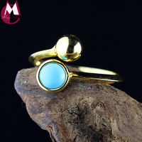 Gold Color Round Bead Water Drop Turquoise Original Design Real 925 Sterling Silver Jewelry Wedding Engagement