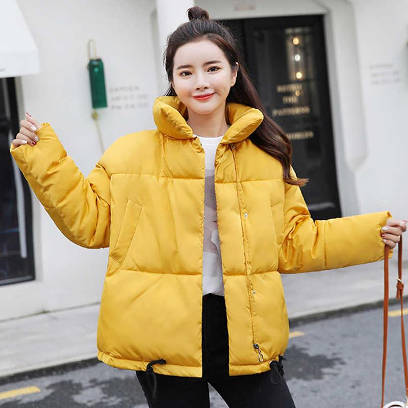 2019 スタンド襟の女性の冬ジャケット綿パッド入り暖かいショート女性のコート生き抜く高品質レディースパーカー Casaco Feminino