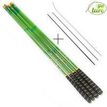 Goture Verde Telescópica caña de Pescar de Fibra de Carbono caña de Pescar ultraligero Carpa Varilla 3.6 M 4.5 M 5.4 M 6.3 M 7.2 M + 3 de repuesto consejos