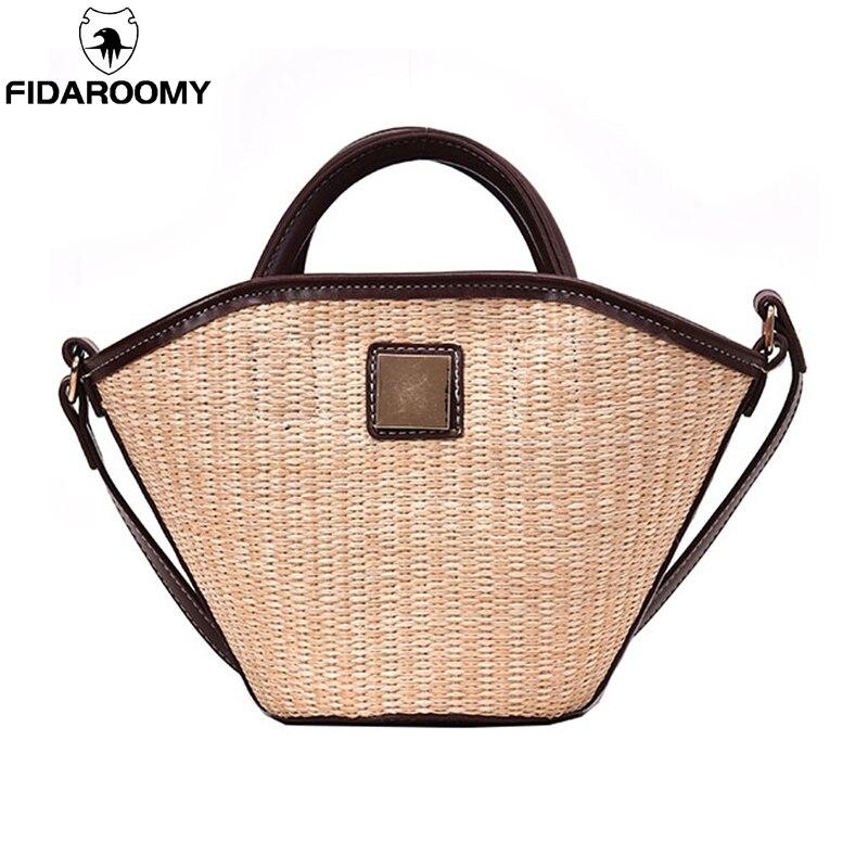 Chic panier de paille sac à main femmes voyage sac de plage fait à la main sac fourre-tout féminin bohème filles été luxe Designer sac à bandoulière