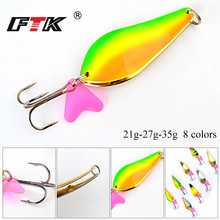 FTK 1PC Metal Spinner Fishing Lure 8Colors Hard Baits Spoon 21G/27G/35G 6-8.5CM With 1#-1/0# Hook Paillette Wobbler Pesca Tackle