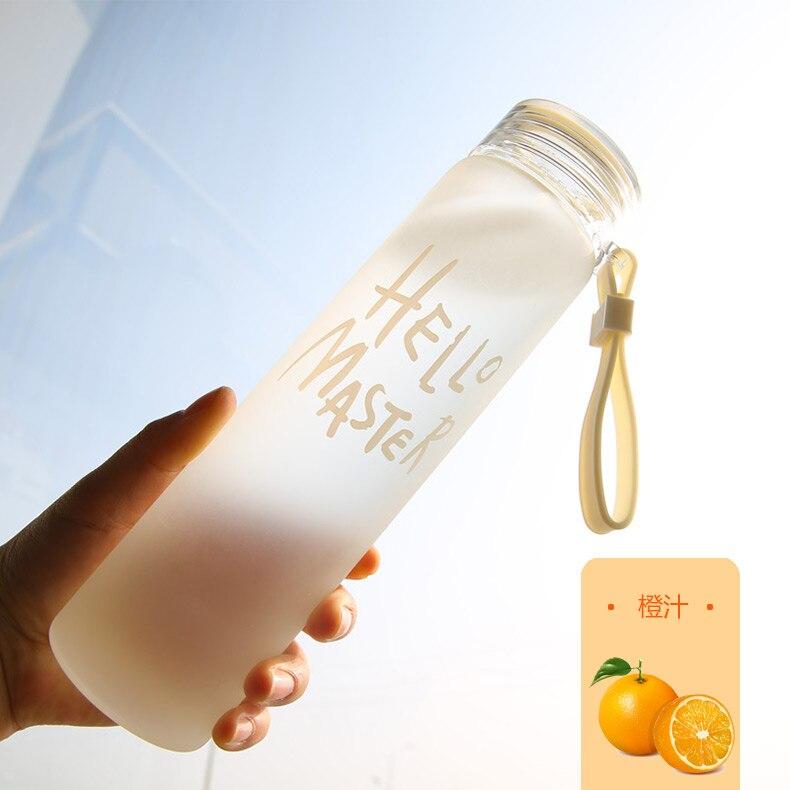 480ML Water Bottle With Bag Leak Proof Glass Water Bottle Drinkware Transparent Water Bottles Cute Sports Fruit bottle