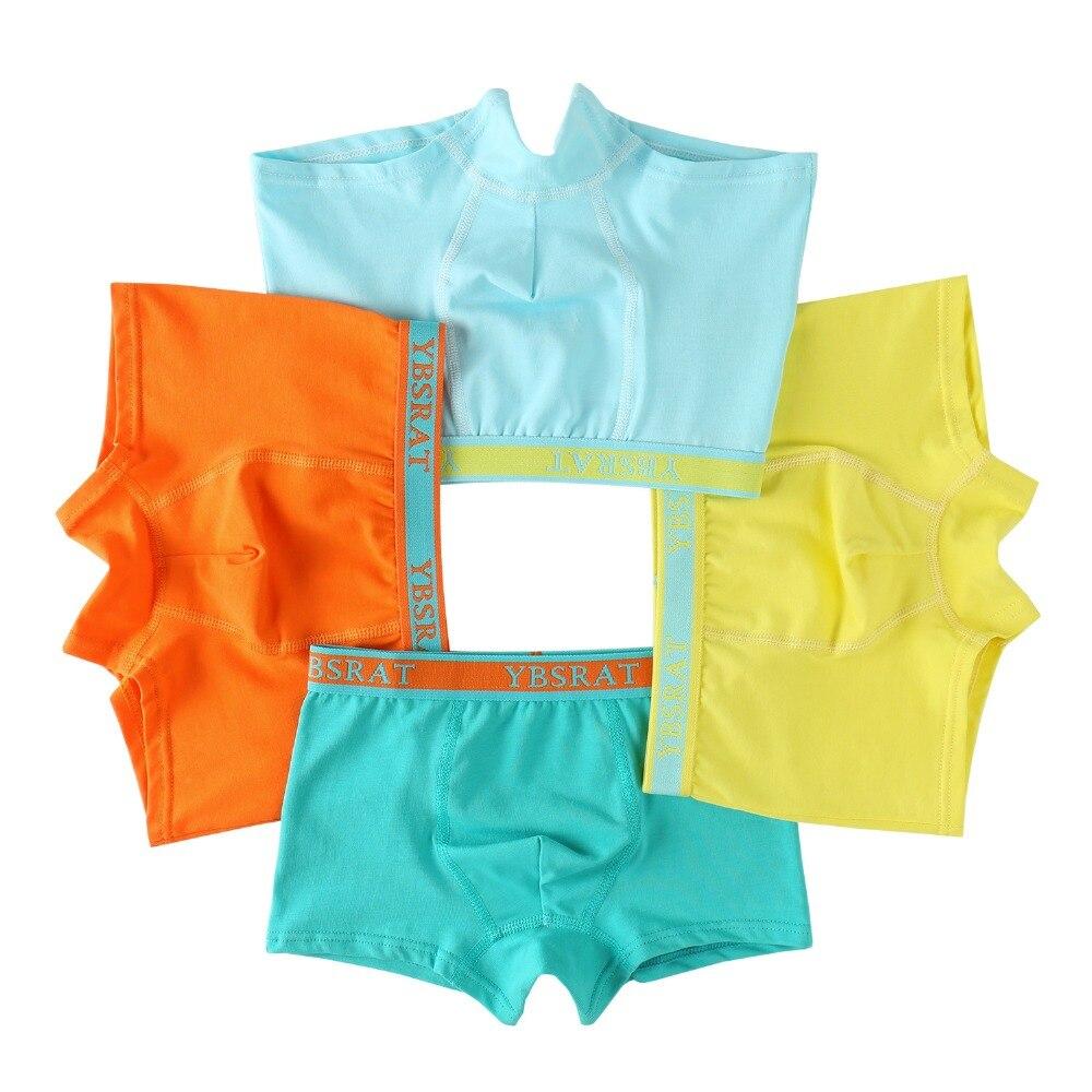4pcs/lot Quality Boys Underpants Pure Color Cotton Boxer Panties for Kids Boys Short Briefs Underwear Brand Children Clothing