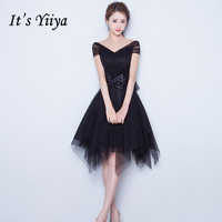 It's YiiYa Popular Sleeveless V Neck Cocktail Bow Tulle Little Black Dress Knee Length Party Simple Vintage Black Dresses X064