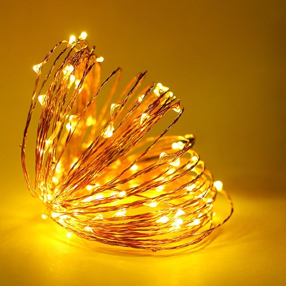 2 м 5 м Медный провод Гирлянды светодиодные свет Водонепроницаемый Батарея Мощность Светодиодные ленты праздничного декора lamparas лампы фея Свадебная вечеринка Рождество