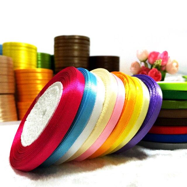 25 yardsroll 6mm single face satin ribbon wholesale gift packing christmas ribbons