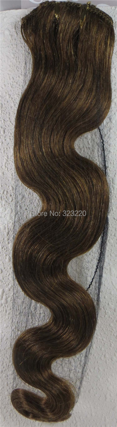Wholesale 22″ Women's Remy Human Hair Clips In Extensions Body Wavy 7Pcs 75g Light Brown #8