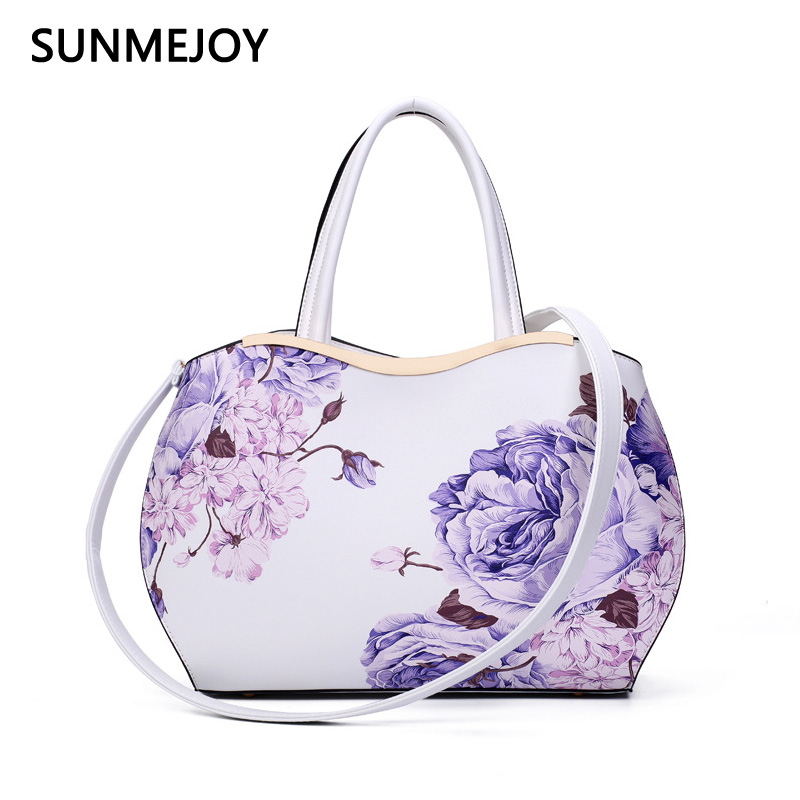 SUNMEJOY brand printed handbag flower bag high quality PU leather tote bag women embossed handbag female shoulder messenger bags high quality pu fashion women handbag designers brand woman shoulder bags leather embossed bag handbag hot handbag for women