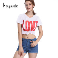 Kaywide New LOVE Letters Print Casual Women T Shirt 2017 Summer Short Sleeve Sexy Top Tees