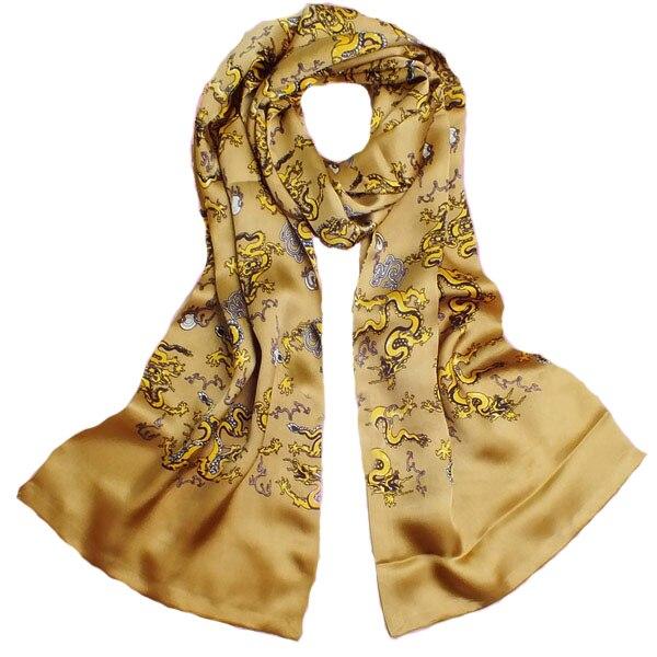 Golden Dragon Animaux Écharpe 100% satin de soie Châles pour Hommes mode Masculine Impression Floral Vin Rouge Soie Foulards et pashminas Wrap