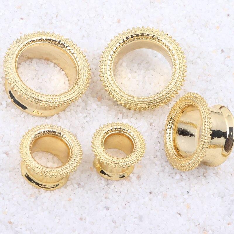 6-16mm New Design dotwork gold stainless steel ear gauges flesh tunnel expander stretcher era plugs body piercing jewelry