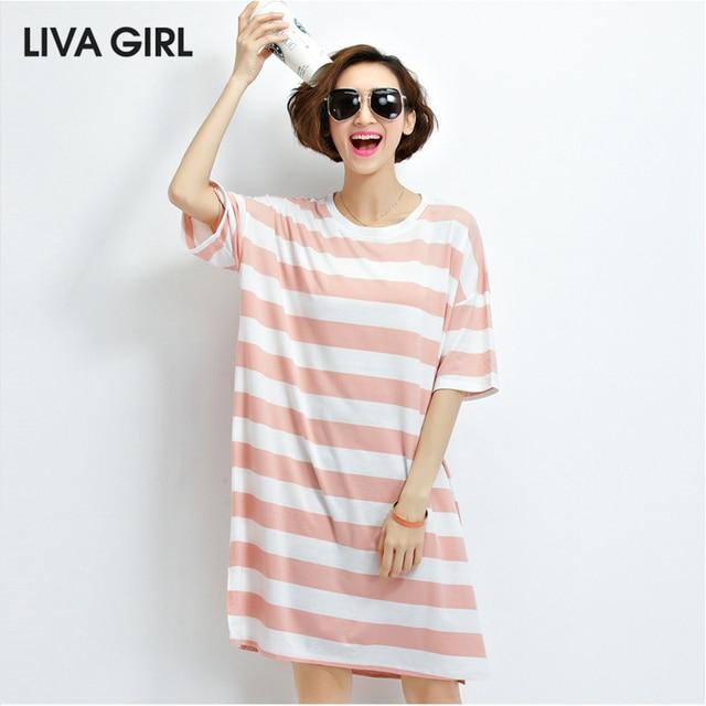 1220f80a65aa LIVA GIRL Loose Summer Casual Long Striped Dress Short Sleeve Pink Loose  Dress Plus Size Cotton Sundresses Women 2017 New