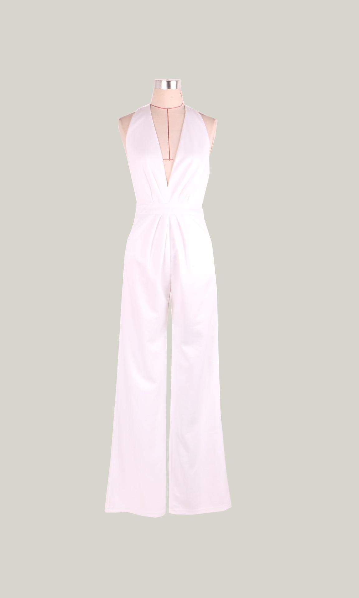 Elegant Long V-neck Sleeveless Bodycon Wide Leg Backless Jumpsuits Romper
