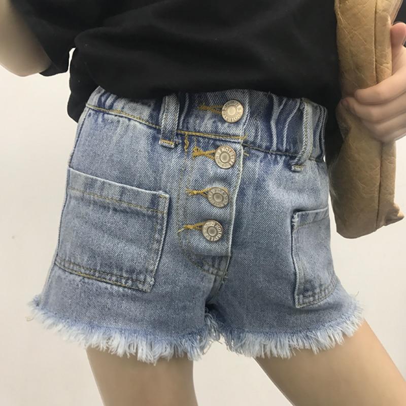 Hohe Taille PüNktlich Mädchen Jeans Sommer 2019 Neue Koreanische Kinder Einreihige Taste Breite-set Modische Schlanke-edged Hosen