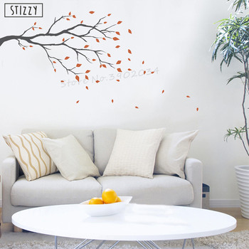 STIZZY Wall Decal Windy Day Branch Wall Sticker Nursery Tree Pattern Modern Design Livingroom Decoration Autumn Leaves DecorA989